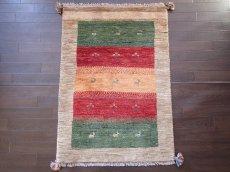 画像1: 手織りペルシャギャッベE89アクセントラグサイズ113×80ハンドメイドラグ (1)