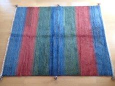 画像1: 新品 ペルシャ ギャッベ リビング サイズ 193 × 150 cm F10 ハンドメイド 天然 ウール 手織り ラグ 絨毯 カーペット 青 赤 緑 グラデーション (1)