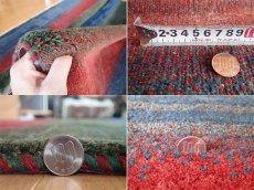 画像5: 新品 ペルシャ ギャッベ リビング サイズ 193 × 150 cm F10 ハンドメイド 天然 ウール 手織り ラグ 絨毯 カーペット 青 赤 緑 グラデーション (5)