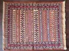 画像1: 手織りペルシャキリムF103玄関マットサイズ97×80ハンドメイドラグ (1)