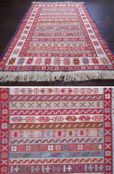 画像2: 手織りペルシャキリムF107玄関マットサイズ97×73ハンドメイドラグ