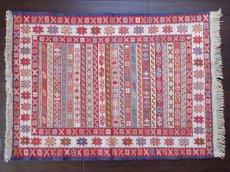 画像1: 手織りペルシャキリムF107玄関マットサイズ97×73ハンドメイドラグ (1)