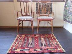 画像3: 手織りペルシャキリムF110玄関マットサイズ98×81ハンドメイドラグ (3)