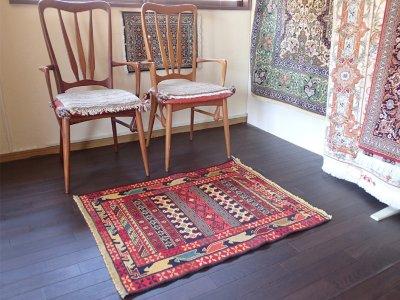 画像1: 手織りペルシャキリムF110玄関マットサイズ98×81ハンドメイドラグ