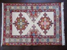 画像1: 手織りペルシャキリムF116玄関マットサイズ96×71ハンドメイドラグ (1)