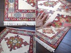 画像4: 手織りペルシャキリムF116玄関マットサイズ96×71ハンドメイドラグ (4)