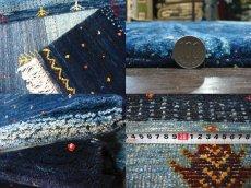 画像6: ペルシャ ギャッベ リビング サイズ 200 x 159 cm F159 ハンドメイド 天然 ウール 手織り ラグ 絨毯 カーペット グラデーション 青 ネイビー (6)