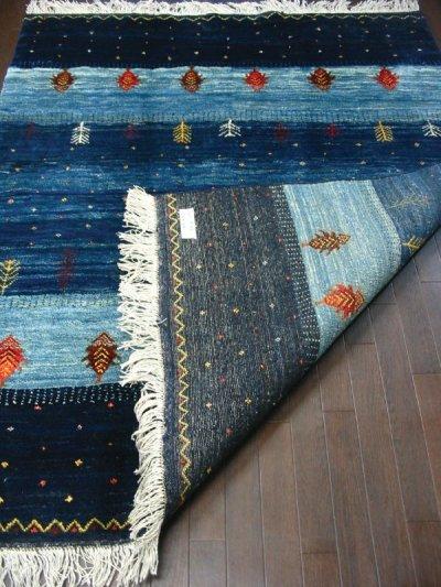 画像1: ペルシャ ギャッベ リビング サイズ 200 x 159 cm F159 ハンドメイド 天然 ウール 手織り ラグ 絨毯 カーペット グラデーション 青 ネイビー