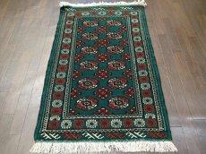 画像3: 新品 トルクメン ペルシャ 絨毯 アクセント サイズ 122 × 78 cm 187 トライバル ラグ 天然 ウール 敷物 マット カーペット 赤 緑 (3)