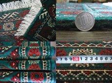 画像6: 新品 トルクメン ペルシャ 絨毯 アクセント サイズ 122 × 78 cm 187 トライバル ラグ 天然 ウール 敷物 マット カーペット 赤 緑 (6)