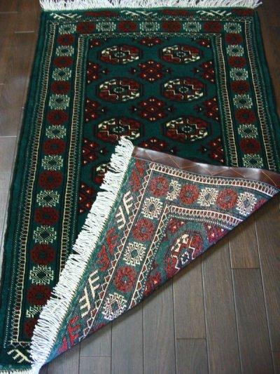 画像1: 新品 トルクメン ペルシャ 絨毯 アクセント サイズ 122 × 78 cm 187 トライバル ラグ 天然 ウール 敷物 マット カーペット 赤 緑