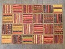 画像1: ペルシャ キリム パッチワーク ラグ 玄関 マット サイズ 88 x 57 cm 1758 平織り 天然 ウール 絨毯 敷物 カーペット 茶 赤 黄 マルチ カラー (1)