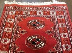 画像3: 新品 トルクメン ペルシャ 絨毯 アクセント サイズ 122 × 84 cm 209 トライバル ラグ 天然 ウール 敷物 マット カーペット 赤 エンジ 白 (3)