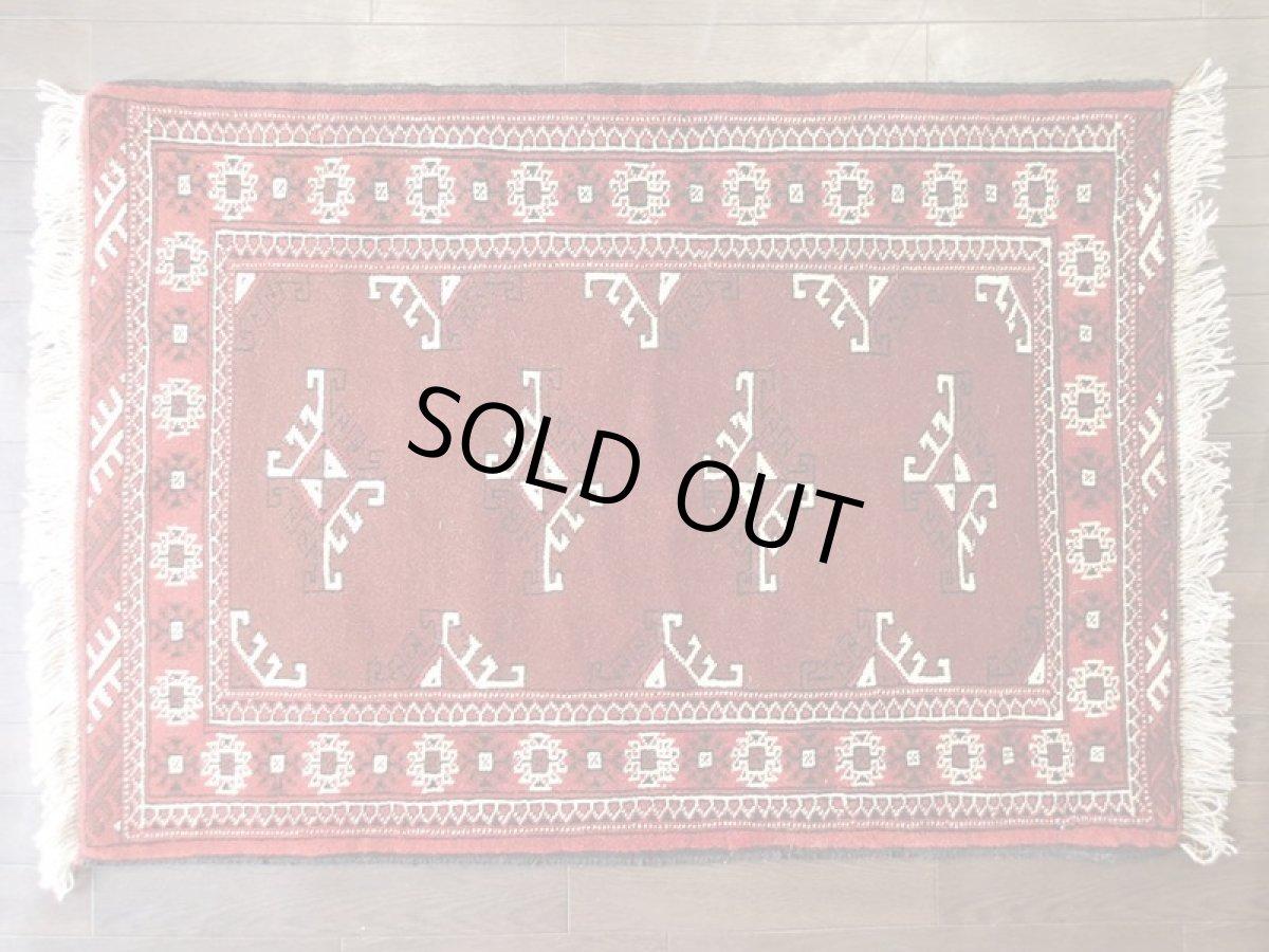 画像1: 新品 トルクメン ペルシャ 絨毯 アクセント サイズ 118 x 83 cm 200 トライバル ラグ 天然 ウール 敷物 マット カーペット エンジ  赤 (1)