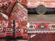画像6: 新品 トルクメン ペルシャ 絨毯 アクセント サイズ 118 x 83 cm 200 トライバル ラグ 天然 ウール 敷物 マット カーペット エンジ  赤 (6)