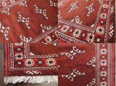 画像5: 新品 トルクメン ペルシャ 絨毯 アクセント サイズ 118 x 83 cm 200 トライバル ラグ 天然 ウール 敷物 マット カーペット エンジ  赤 (5)