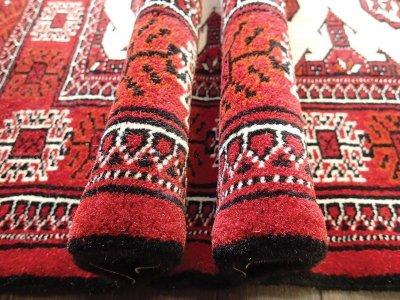 画像3: 新品 トルクメン ペルシャ 絨毯 アクセント サイズ 126 x 82 cm 196 トライバル ラグ 天然 ウール 敷物 マット カーペット エンジ  赤 クリーム