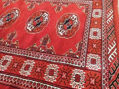 画像2: 新品 トルクメン ペルシャ 絨毯 アクセント サイズ 122 × 84 cm 209 トライバル ラグ 天然 ウール 敷物 マット カーペット 赤 エンジ 白