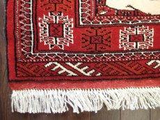 画像5: 新品 トルクメン ペルシャ 絨毯 アクセント サイズ 126 x 82 cm 196 トライバル ラグ 天然 ウール 敷物 マット カーペット エンジ  赤 クリーム (5)