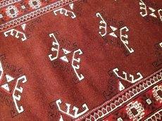 画像4: 新品 トルクメン ペルシャ 絨毯 アクセント サイズ 118 x 83 cm 200 トライバル ラグ 天然 ウール 敷物 マット カーペット エンジ  赤 (4)