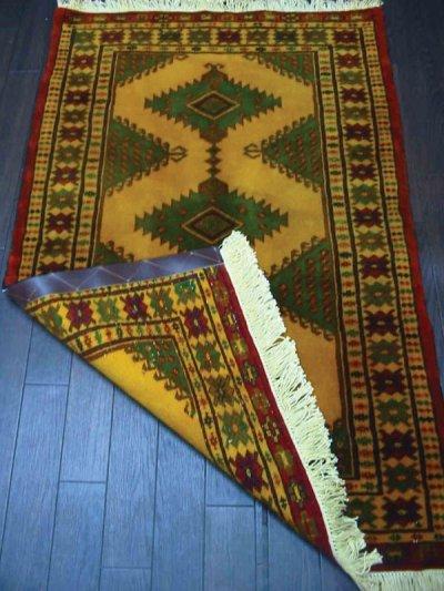 画像1: 新品 トルクメン ペルシャ 絨毯 アクセント サイズ 119 × 74 cm E38 トライバル ラグ 天然 ウール 敷物 マット カーペット 黄 緑 赤