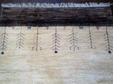 画像3: ペルシャ ギャッベ リビング サイズ 210 x 160 cm F163 ハンドメイド ギャベ 天然 ウール 手織り ラグ マット 絨毯 カーペット クリーム 茶 灰 (3)