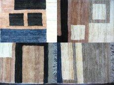 画像5: ペルシャ ギャッベ リビング サイズ 217 x 165 cm F175 ハンドメイド 天然 ウール 手織り ラグ マット 絨毯 カーペット モザイク パターン マルチ カラー クリーム 茶 青 (5)