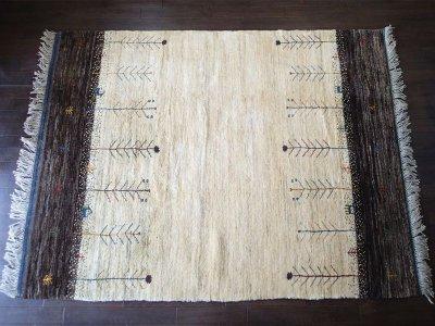 画像1: ペルシャ ギャッベ リビング サイズ 210 x 160 cm F163 ハンドメイド ギャベ 天然 ウール 手織り ラグ マット 絨毯 カーペット クリーム 茶 灰