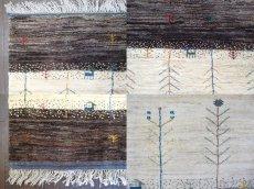 画像5: ペルシャ ギャッベ リビング サイズ 210 x 160 cm F163 ハンドメイド ギャベ 天然 ウール 手織り ラグ マット 絨毯 カーペット クリーム 茶 灰 (5)