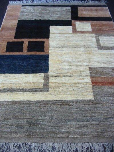 画像1: ペルシャ ギャッベ リビング サイズ 217 x 165 cm F175 ハンドメイド 天然 ウール 手織り ラグ マット 絨毯 カーペット モザイク パターン マルチ カラー クリーム 茶 青