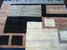 画像3: ペルシャ ギャッベ リビング サイズ 217 x 165 cm F175 ハンドメイド 天然 ウール 手織り ラグ マット 絨毯 カーペット モザイク パターン マルチ カラー クリーム 茶 青 (3)
