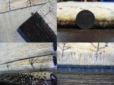 画像6: ペルシャ ギャッベ リビング サイズ 210 x 160 cm F163 ハンドメイド ギャベ 天然 ウール 手織り ラグ マット 絨毯 カーペット クリーム 茶 灰 (6)