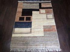 画像1: ペルシャ ギャッベ リビング サイズ 217 x 165 cm F175 ハンドメイド 天然 ウール 手織り ラグ マット 絨毯 カーペット モザイク パターン マルチ カラー クリーム 茶 青 (1)