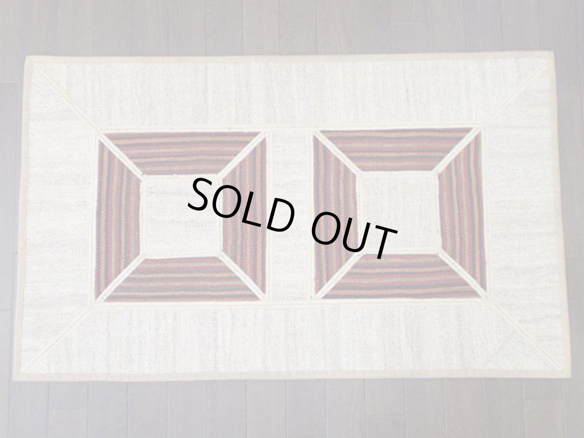 画像1: ペルシャ キリム ジャジーム パッチワーク ラグ 玄関 マット サイズ 106 × 63 cm 5487 平織り 天然 ウール 絨毯 敷物 カーペット クリーム 茶 (1)