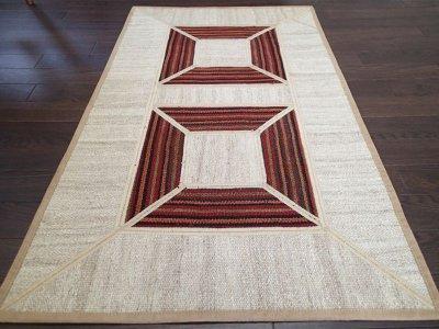 画像1: ペルシャ キリム ジャジーム パッチワーク ラグ 玄関 マット サイズ 106 × 63 cm 5487 平織り 天然 ウール 絨毯 敷物 カーペット クリーム 茶