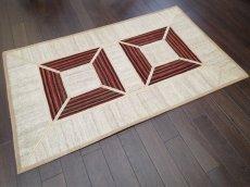 画像2: ペルシャ キリム ジャジーム パッチワーク ラグ 玄関 マット サイズ 106 × 63 cm 5487 平織り 天然 ウール 絨毯 敷物 カーペット クリーム 茶 (2)