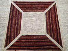 画像4: ペルシャ キリム ジャジーム パッチワーク ラグ 玄関 マット サイズ 106 × 63 cm 5487 平織り 天然 ウール 絨毯 敷物 カーペット クリーム 茶 (4)