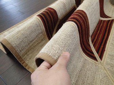 画像2: ペルシャ キリム ジャジーム パッチワーク ラグ 玄関 マット サイズ 106 × 63 cm 5487 平織り 天然 ウール 絨毯 敷物 カーペット クリーム 茶