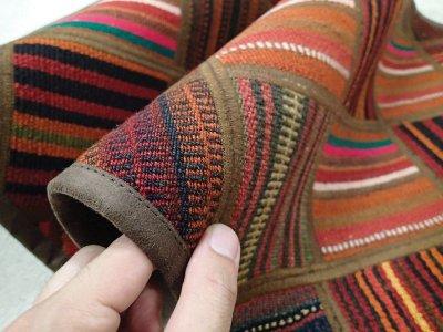 画像3: 新品 ペルシャ キリム パッチワーク ラグ アクセント サイズ 113 x 59 cm No.5489 平織り 天然 ウール 絨毯 敷物 マット カーペット 茶 赤 マルチ カラー n-5489-113059sa08