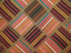 画像4: 新品 ペルシャ キリム パッチワーク ラグ アクセント サイズ 113 x 59 cm No.5489 平織り 天然 ウール 絨毯 敷物 マット カーペット 茶 赤 マルチ カラー n-5489-113059sa08 (4)