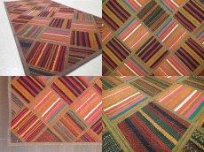 画像5: 新品 ペルシャ キリム パッチワーク ラグ アクセント サイズ 113 x 59 cm No.5489 平織り 天然 ウール 絨毯 敷物 マット カーペット 茶 赤 マルチ カラー n-5489-113059sa08 (5)
