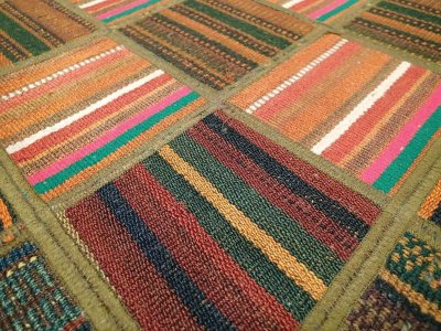 画像2: 新品 ペルシャ キリム パッチワーク ラグ アクセント サイズ 113 x 59 cm No.5489 平織り 天然 ウール 絨毯 敷物 マット カーペット 茶 赤 マルチ カラー n-5489-113059sa08