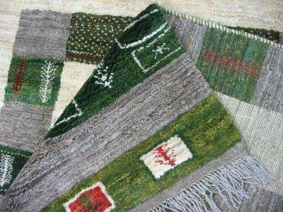 画像3: ペルシャ ギャッベ リビング サイズ 203 x 155 cm F149 ハンドメイド ギャベ 天然 ウール 手織り ラグ マット 絨毯 カーペット クリーム 緑 茶