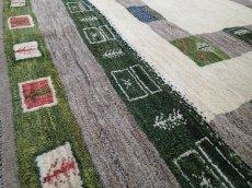 画像5: ペルシャ ギャッベ リビング サイズ 203 x 155 cm F149 ハンドメイド ギャベ 天然 ウール 手織り ラグ マット 絨毯 カーペット クリーム 緑 茶 (5)