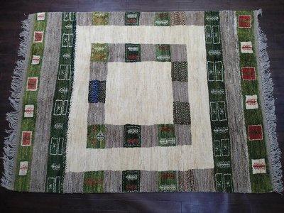 画像1: ペルシャ ギャッベ リビング サイズ 203 x 155 cm F149 ハンドメイド ギャベ 天然 ウール 手織り ラグ マット 絨毯 カーペット クリーム 緑 茶