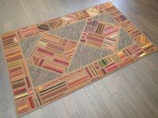画像2: 新品 ペルシャ キリム ジャジム パッチワーク ラグ アクセント サイズ 124 x 78 cm No.1751  平織り 天然 ウール 絨毯 敷物 マット カーペット 茶 赤 マルチ カラー カラフル n-1751-124078sa08 (2)