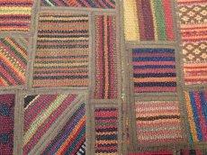 画像6: ペルシャ キリム ジャジーム パッチワーク ラグ 玄関 マット サイズ92 x 63 cm 1763 平織り 天然 ウール 絨毯 敷物 カーペット 茶 マルチ カラー カラフル (6)