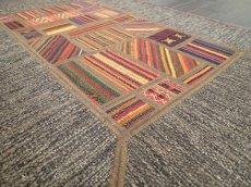 画像5: ペルシャ キリム ジャジーム パッチワーク ラグ 玄関 マット サイズ92 x 63 cm 1763 平織り 天然 ウール 絨毯 敷物 カーペット 茶 マルチ カラー カラフル (5)