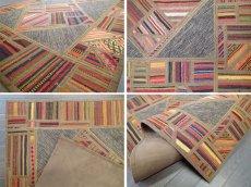 画像8: 新品 ペルシャ キリム ジャジム パッチワーク ラグ アクセント サイズ 124 x 78 cm No.1751  平織り 天然 ウール 絨毯 敷物 マット カーペット 茶 赤 マルチ カラー カラフル n-1751-124078sa08 (8)