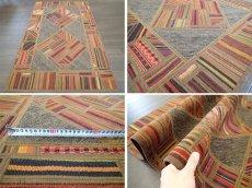 画像9: 新品 ペルシャ キリム ジャジム パッチワーク ラグ アクセント サイズ 124 x 78 cm No.1751  平織り 天然 ウール 絨毯 敷物 マット カーペット 茶 赤 マルチ カラー カラフル n-1751-124078sa08 (9)
